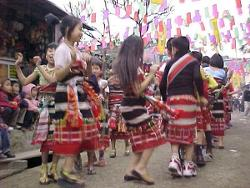 Young girls of Kakhulong dancing during Gaan-Ngai Festival