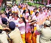 ILP : TG higher Secondary school students  staged protest :: Gallery