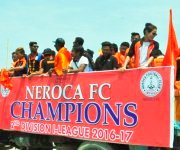 NEROCA FC, 2nd Division League 2017 winner received at Imphal Interntional Airport :: Gallery